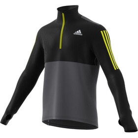 adidas OWN The Run LS 1/2 Zip Shirt Men grey five/black/acid yellow